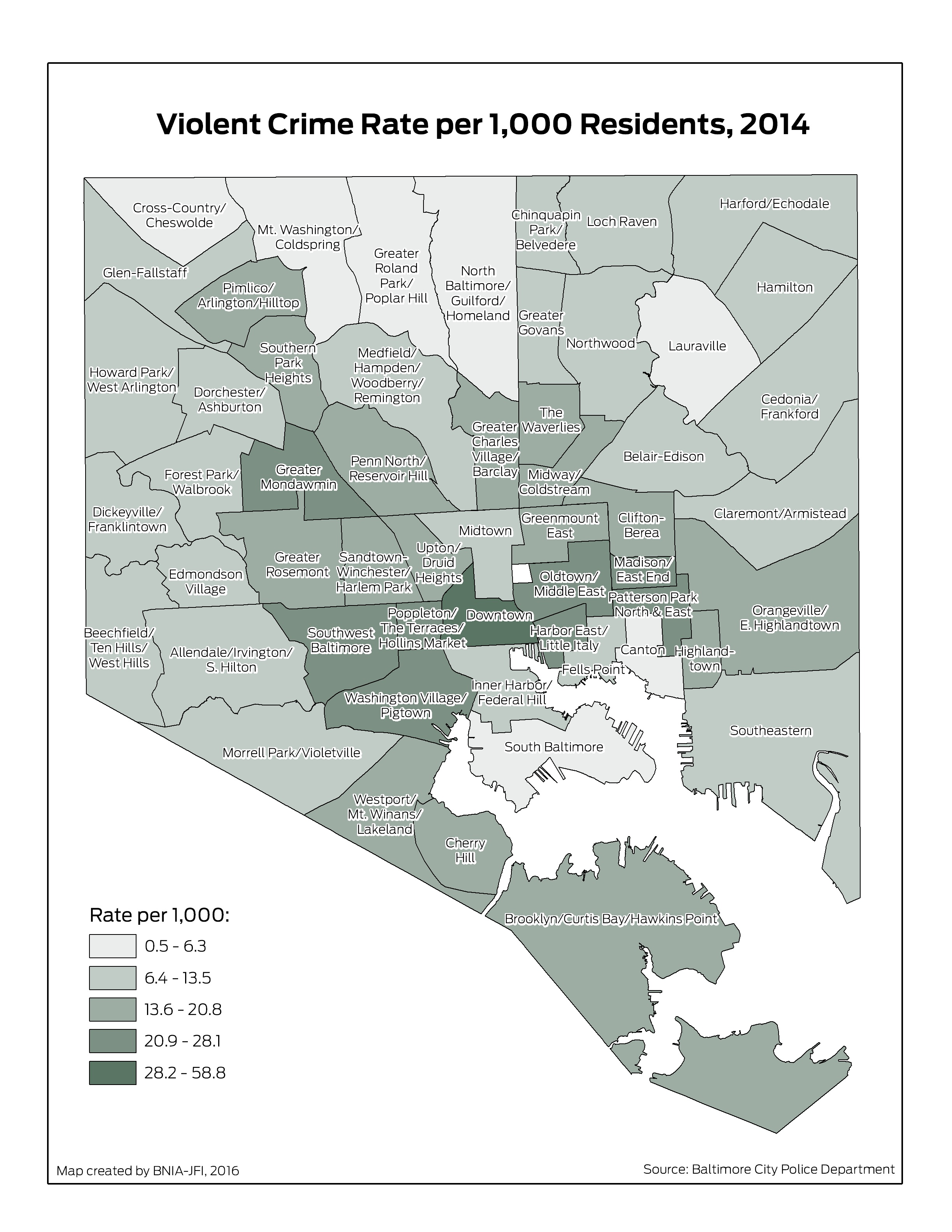 Gallery Vital Signs Crime Safety Maps BNIA Baltimore - Crime rate per 1000 us map