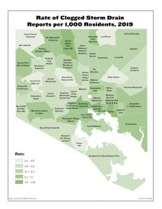 Rate of Clogged Storm Drain Reports per 1,000 Residents (2019)