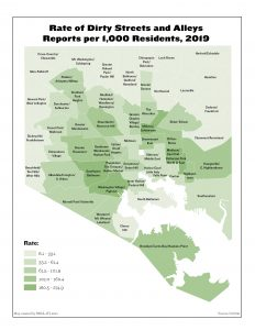 Rate of Dirty Streets and Alleys Reports per 1,000 Residents (2019)