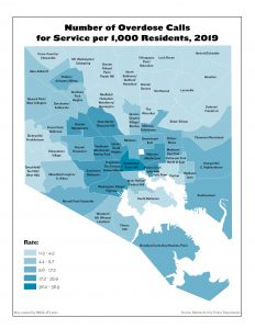 Number of Overdose Calls for Service per 1,000 Residents (2019)